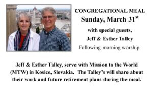 Congregational Meal w/Talley's